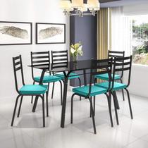 Conjunto Sala de Jantar Mesa Lotus Tampo de Vidro Preto e 6 Cadeiras Artefamol Preto/Azul -