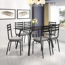 Conjunto Sala de Jantar Mesa Lotus Tampo de Vidro Preto e 6 Cadeiras Artefamol Preto/Platina -