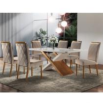 Conjunto Sala de Jantar Mesa Madeira Maciça 6 Cadeiras Havana Mobilare Off White/Cinamomo Imbuia/Imbuia Natural -