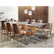 Conjunto Sala de Jantar Mesa Madeira Maciça Sarah e 8 Cadeiras Roma Mobilare Cinamomo Imbuia/Off White/Imbuia Natural/Turim/Car -