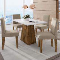 Conjunto Sala de Jantar Mesa Manuele 4 Cadeiras Giovana Siena Móveis Canela/Bege -
