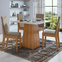 Conjunto Sala de Jantar Mesa Nevada 100 cm 04 Cadeiras Lira Lopas -