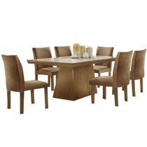 Conjunto Sala de Jantar Mesa Pietra com 6 Cadeiras Audace LJ Móveis Castanho Prêmio 180x90cm - Estrela Móveis