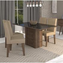 Conjunto Sala de Jantar Mesa Rafaela 4 Cadeiras Milena Cimol Marrocos/Preto/Suede Marfim -