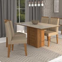 Conjunto Sala de Jantar Mesa Rafaela 4 Cadeiras Nicole Cimol Savana/Off White/Suede Marfim -