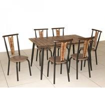 Conjunto Sala de Jantar Mesa Retangular e 6 Cadeiras Calcário Modecor Café/Demolição -