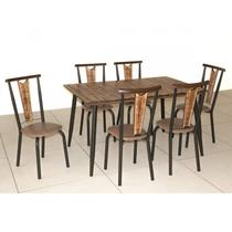 Conjunto Sala de Jantar Mesa Retangular e 6 Cadeiras Calcário Modecor -