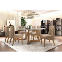 Conjunto Sala de Jantar Mesa Safira 180 com 6 cadeiras Rufato -
