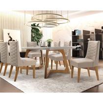 Conjunto Sala de Jantar Mesa Safira 180cm 6 Cadeiras Rufato com Vidro -