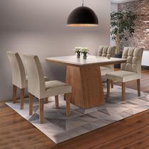 Conjunto Sala de Jantar Mesa Sevilha I Tampo de Vidro 4 Cadeiras Vitoria Espresso Móveis Chocolate/Pena -