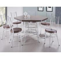 Conjunto Sala de Jantar Mesa Sextavada e 6 Cadeiras Canadá Móveis Brastubo Tabaco -
