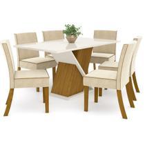 Conjunto Sala de Jantar Mesa Solus 160cm e 6 Cadeiras Maris Nature Off White/Linho - HENN -