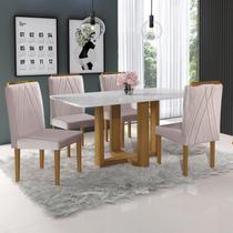 Conjunto Sala de Jantar Mesa Tampo 4 Cadeiras Lisboa Mundial Móveis Mel/Bege -