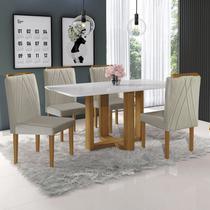 Conjunto Sala de Jantar Mesa Tampo 4 Cadeiras Lisboa Mundial Móveis Mel/Cinza -