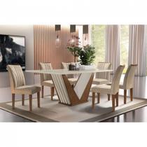 Conjunto Sala de Jantar Mesa Tampo de MDF 6 cadeiras - Firenze - Cel Móveis chocolate / off white - Sem Vidro -