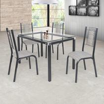 Conjunto Sala de Jantar Mesa Tampo de Vidro 4 Cadeiras Bela Ciplafe Junco Manteiga Craqueado Preto/Junco Manteiga -