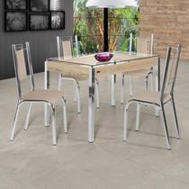 Conjunto Sala de Jantar Mesa Tampo de Vidro 4 Cadeiras Bela Premium Ciplafe Cromado/Bege -