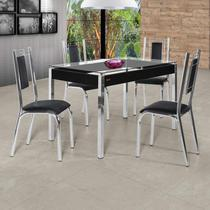 Conjunto Sala de Jantar Mesa Tampo de Vidro 4 Cadeiras Bela Premium Ciplafe Cromado/Preto -