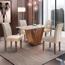 Conjunto Sala de Jantar Mesa Tampo de Vidro 4 Cadeiras Espanha Espresso Móveis Chocolate -