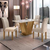 Conjunto Sala de Jantar Mesa Tampo de Vidro 4 Cadeiras Espanha Espresso Móveis Ypê -
