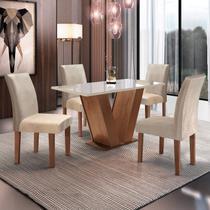 Conjunto Sala de Jantar Mesa Tampo de Vidro 4 Cadeiras Espanha Yescasa Chocolate -