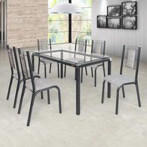 Conjunto Sala de Jantar Mesa Tampo de Vidro 6 Cadeiras Bela Ciplafe Junco Manteiga Craqueado Preto/Junco Manteiga -