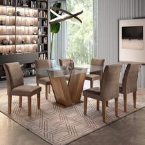 Conjunto Sala de Jantar Mesa Tampo de Vidro 6 Cadeiras Classic Cel Móveis Chocolate/Animale Marrom 52 -