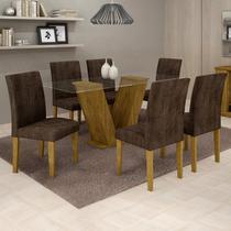 Conjunto Sala de Jantar Mesa Tampo de Vidro 6 Cadeiras Classic Cel Móveis Ypê/Animale Marrom 52 -