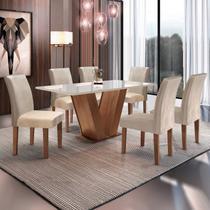 Conjunto Sala de Jantar Mesa Tampo de Vidro 6 Cadeiras Espanha Yescasa Chocolate -