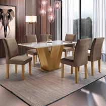 Conjunto Sala de Jantar Mesa Tampo de Vidro 6 Cadeiras Espanha Yescasa Ypê -