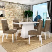 Conjunto Sala de Jantar Mesa Tampo de Vidro Branco 6 Cadeiras Málaga Leifer Branco/Capuccino -
