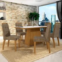Conjunto Sala de Jantar Mesa Tampo de Vidro Branco 6 Cadeiras Málaga Leifer Canela/Branco/Capuccino -