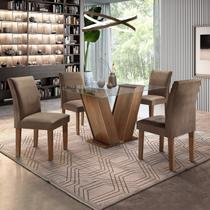 Conjunto Sala de Jantar Mesa Tampo de Vidro e 4 Cadeiras Classic Cel Móveis Chocolate/Animale Marrom 52 -
