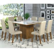 Conjunto Sala de Jantar Mesa Tampo de Vidro e 8 Cadeiras Catarina Siena Móveis -