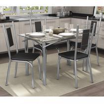 Conjunto Sala de Jantar Mesa Tampo de Vidro Elba e 4 Cadeiras Florença Crome Kappesberg Cromado/Preto -
