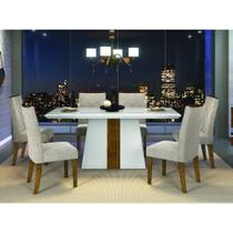 Conjunto Sala de Jantar Mesa Tampo de Vidro Itália e 6 Cadeiras Golden DJ Móveis -