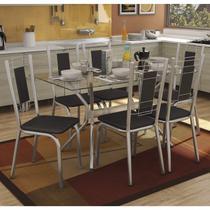 Conjunto Sala de Jantar Mesa Tampo de Vidro Loire e 6 Cadeiras Florença Crome Kappesberg Cromado/Preto -