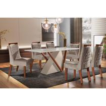 Conjunto Sala de Jantar Mesa Tampo de Vidro Pequim 6 Cadeiras Atena LJ Móveis Off White/Castanho Premio/Pena Bege/Laca -