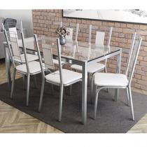 Conjunto Sala de Jantar Mesa Tampo de Vidro Reno e 6 Cadeiras Florença Crome Kappesberg Cromado/Branco -