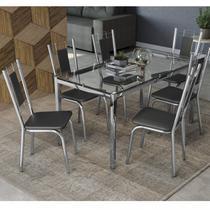 Conjunto Sala de Jantar Mesa Tampo de Vidro Reno e 6 Cadeiras Florença Crome Kappesberg Cromado/Preto -