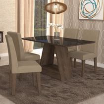 Conjunto Sala de Jantar Mesa Tampo de Vidro Retangular Alana 4 Cadeiras Milena Cimol Marrocos/Preto/Sued Marfim -