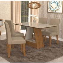 Conjunto Sala de Jantar Mesa Tampo de Vidro Retangular Alana 4 Cadeiras Milena Cimol Savana/Off White/Sued Marfim -