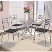 Conjunto Sala de Jantar Mesa Tampo de Vidro Volga e 4 Cadeiras Portugal Crome Kappesberg Cromado/Preto -