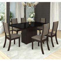 Conjunto Sala de Jantar Mesa Tampo em MDF/ Vidro Bella 6 Cadeiras Kiara Espresso Móveis Choco/Canela -