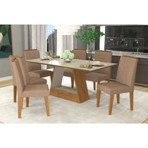Conjunto Sala de Jantar Mesa Tampo em Vidro Alana 6 Cadeiras Nicole Cimol Savana/Off White/Pluma -