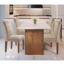Conjunto Sala de Jantar Mesa Tampo em Vidro e 4 Cadeiras Júlia Cel Móveis Chocolate/Off White/Tecido Pena -