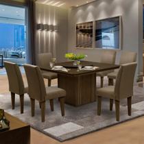 Conjunto Sala de Jantar Mesa Tampo Giratório 6 Cadeiras Amsterdã Dobuê Castanho -