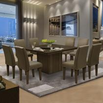 Conjunto Sala de Jantar Mesa Tampo Giratório 8 Cadeiras Amsterdã Dobuê Castanho -