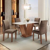 Conjunto Sala de Jantar Mesa Tampo MDF 4 Cadeiras Espanha Espresso Móveis Chocolate/Suede Marrom -