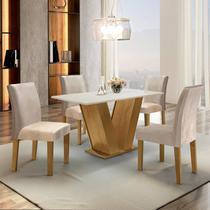 Conjunto Sala de Jantar Mesa Tampo MDF 4 Cadeiras Espanha Espresso Móveis Ypê/Suede Bege -